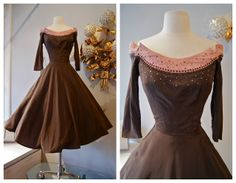 1950's Neapolitan Dream in pink and brown, studded with rhinestones. Designed by Robert Goldberg