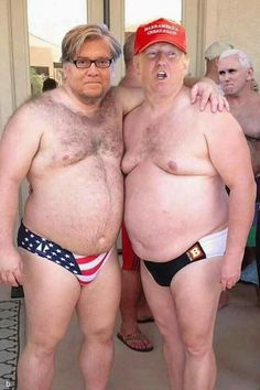 Bannon & Trump, strippers for hire. Our nipples are pink, so you know we are all white. We specialize in KKK Banquets.
