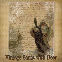 vintage Santa collage with deer