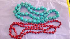 "2 Howlite Skull Bead Neacklaces, Red &Turquoise, Knotted, 37"" & 36"" Length, EUC #Unbranded #StrandString"