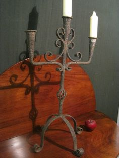Antique 1700s Early Rare Wrought Iron Folk Art Triple Candleabra Sold North Bayshore Antiques