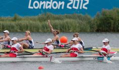 Canada's women's eight rowing team come in second place to win silver  at the 2012 London Olympic Games, on August 2, 2012. In the photo from left to right are: Lauren Wilkinson; Krista Guloien; Rachelle Viinberg and Janine Hanson.  COC Photo: Jason Ransom