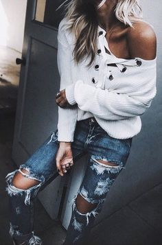 White Laced Up Knit // Destroyed Jeans Source