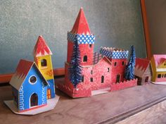 Vintage  Sweet Group of Christmas Houses  Putz by ShaneLilyRain, $15.00