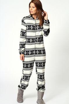 3259c7f7c8c Imogen Fairisle Design Supersoft Hooded Onesie Christmas Footie Pajamas