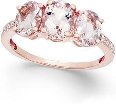 Morganite (2 ct. t.w.) and Diamond (1/10 ct. t.w.) Ring in 14k Rose Gold