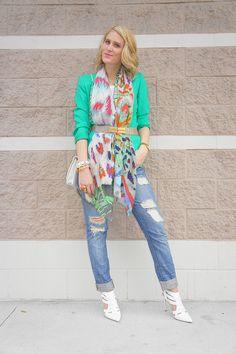 Jennifer Rand; Bindya scarf via ChicTweak.com; Forever21 denim; vintage Judith Leiber belt; vintage bag; Shoemint heels; vintage blazer