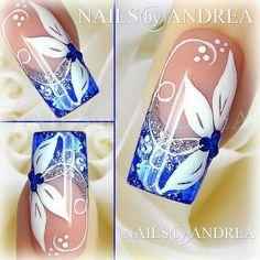 Nail Art Tutorial: Blaue und weiße Blumen Nail Art Tutorial: Blue and White Flowers Rose Nail Art, Rose Nails, Flower Nail Art, New Nail Art, Nail Art Designs, White Nail Designs, Nails Design, Blue And White Nails, White Nail Art