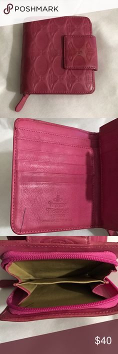Vivienne Westwood Pink Leather Bifold Wallet Purse GUC - pink - lamb skin leather - lined - billfold, wallet, Zipper coin purse - needs a bit of cleaning and has pen marks - see pics for details Vivienne Westwood Bags Wallets