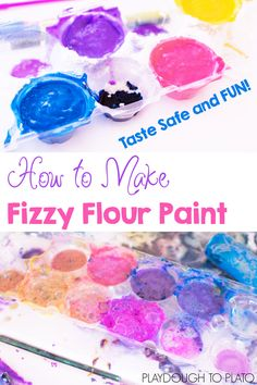 Super simple homemade fizzy flour paint. Just 3 ingredients! You can make it taste safe for babies and toddlers, but it's also great fun for preschoolers and kindergarteners!
