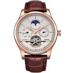 86bee1502e67 Men Watches Automatic Mechanical Watch Tourbillon Sport Clock Leather  Casual Business Retro Wristwatch