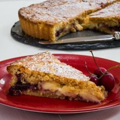 Gateau Basque - buttery almond pastry with a cherry and creme patisserie filling.