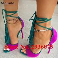 69.49$  Watch now - http://ali34c.shopchina.info/go.php?t=32802263475 - Suede Leather Fringed Ankle Strapp Sandals Tassel Mixed Color Peep Toe Shallow Cut-Outs High Heels Sapato Feminino Shoes Woman 69.49$ #buymethat