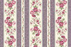 MOREPORK boeket Rose voor u katoen stof Quilt Gate RU2220 - 14D Rose strepen paarse crème