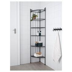 IKEA - RÖNNSKÄR, Corner shelf unit, black, Removable shelves which are easy to clean. Corner Shelf Unit Ikea, Corner Storage, Corner Shelves, Storage Spaces, Corner Bathroom Storage, Ikea Bathroom, Base Cabinets, Amazing Bathrooms, Bookcase