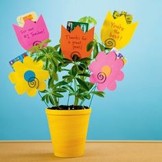 Teacher Gifts - gift card flower pot