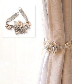Shabby Chic Flowered Curtain Tie -  Free Crochet Pattern