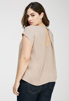 Plus Size Origami-Back Crepe Top