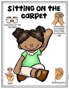 Carpet rules emergent reader is a great resource to provide to students when teaching classroom expectations. Also includes 8 visuals that are easy to post in the classroom as a reminder to students the proper way to sit on the carpet. Classroom Routines, Classroom Rules, Classroom Behavior, Kindergarten Classroom, Kindergarten Procedures, Teaching Procedures, Classroom Ideas, Preschool Rules, Preschool Activities