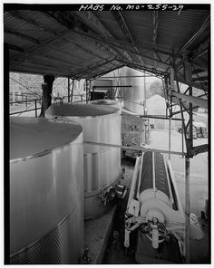 29.  STORAGE VATS FOR FRESHLY PRESSED, STEMMED AND JUICED GRAPES, LOOKING EAST - Stone Hill Winery, 401 West Twelfth Street, Hermann, Gasconade County, MO