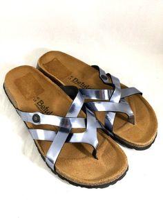a9787f0f9 Betula Birkenstock Vinja Women Sandals Flat Pewter Blue Metallic Thong 40 9  9.5