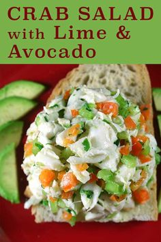 If you can chop, shake your arm, and operate a toaster, you can impress your friends with this tasty Crab Salad with Lime and Avocado. Crab Recipes, Lunch Recipes, Simple Green Salad, Crab Salad, Salads, Avocado, Campaign, Lime, Tasty