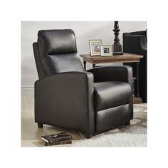 HomeVance Talocott Push Back Faux-Leather Recliner Arm Chair, Black
