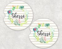 Personalized Car Coaster - Green Floral Wreath