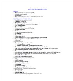 Travel Packing List  Packing List Template With Several Common