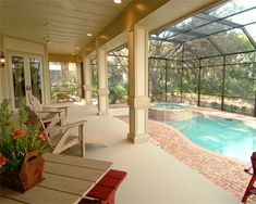 Lanai with pool and spa: Daniel Wayne Homes Sabal Model in Fort Myers, Florida