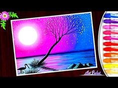Easy trick A Beautiful purple moonlight scenery drawing oil pastel tutorial step by step - YouTube