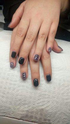 #nails #gelnails #gel #black #grey