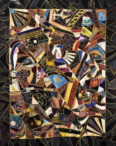 Crazy quilt, c. made by Catherine Mazyck. Wool Quilts, Blue Quilts, Mini Quilts, Hand Quilting, Crazy Quilting, Patchwork Quilting, Fabric Art, Fabric Crafts, Antique Quilts