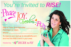 Front of postcard design for Decide to Fly Rise Event. VA Business Help, Virtual Assistant Services. Graphic Designer.