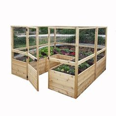8 ft. x 8 ft. Cedar Raised Garden Bed with Deer Fencing Kit, Natural Wood