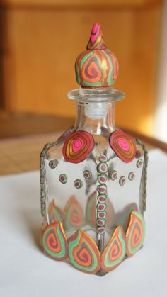 Polymer Clay Cane Decorated Bottle with Stopper. $15.00, via Etsy.
