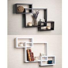 Laminate Intersecting Espresso Wall Shelf