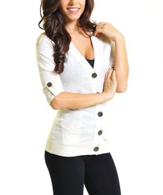 Take a look at this VICE VERSA Beige Roll-Tab Sleeve Wool-Blend V-Neck Cardigan on zulily today!