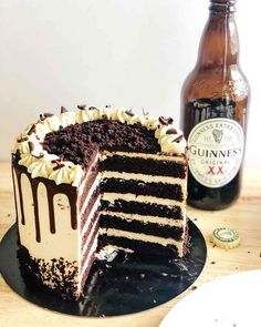recommend stout to new mums for much needed iron...so who am I to argue Guiness Cake Recipe, Malt Recipe, Chocolate Guinness Cake, Chocolate Desserts, Desserts Menu, Delicious Desserts, Cupcake Cakes, Cupcakes, Cake Layers