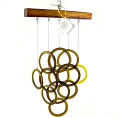 ON SALE - Recycled / Up-cycled Wine Bottle & Wine Barrel Stave Wind Chime. $45.00, via Etsy.