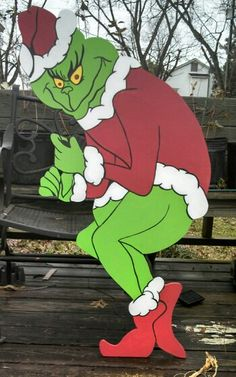 Creeping Grinch with notched hands to hold lights. Grinch stealing Christmas lights. Christmas yard art decorations.