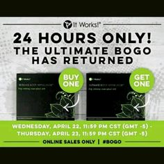 Yes it's true BOGO is back, but not for long. If you missed the last one PLEASE DON'T MISS THIS ONE. #BOGO #ITWORKS #AMAZINGRESULTS #LETMEHELPYOU #BEMYLOYALCUSTOMER #JOINMYTEAM #THEREVOLUTION #WRAPCASHONTHESPOT
