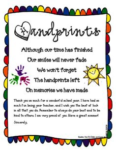 A Simple  Sweet GoodbyeGift Letter To Give To Students Of Any