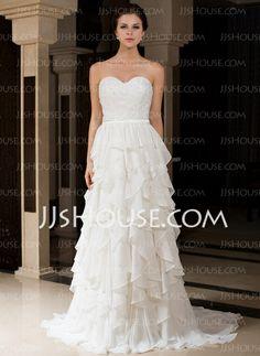 Wedding Dresses - $232.99 - A-Line/Princess Sweetheart Sweep Train Chiffon Charmeuse Wedding Dress With Ruffle Beadwork (007027466) http://jjshouse.com/A-Line-Princess-Sweetheart-Sweep-Train-Chiffon-Charmeuse-Wedding-Dress-With-Ruffle-Beadwork-007027466-g27466