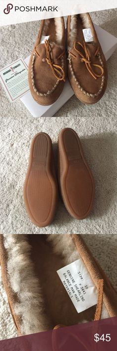 NWOT Minnetonka Golden Tan Sheepskin Moccasins Never worn in original box. Run true to size. I wear a 9.5 and these are slightly large which is why I am selling them. Decided to try this style and it didn't work. Traditional moccasin slipper in genuine sheepskin. Soft natural wool helps wick moisture away from your skin. Soft genuine sheepskin lining. Padded foam for extra comfort. Hard sole for indoor/outdoor use. Not from a smoke free house. Minnetonka Shoes Moccasins