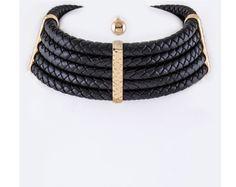 Black Leather Braided Choker