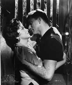 Gina Lollobrigida and Burt Lancaster pictured on the set of Trapeze, directed by Carol Reed, 1956.