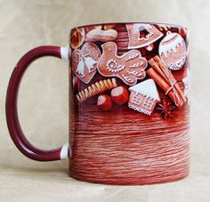 """Чашка """"Рождественский пряник-2"""" 350 мл керамика, сублимационная печать 12$"""