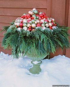 diy outdoor christmas wreath | Outdoor Christmas Urn filled with glass ball ornaments and ever green ...