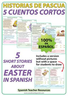 5 Short stories in Spanish about Easter with comprehension activities. 5 Cuentos cortos en español acerca de la Pascua con actividades de comprensión.